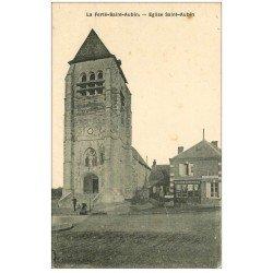 carte postale ancienne 45 LA FERTE-SAINT-AUBIN. L'Eglise et Epicerie Rouennerie. Café Montagne