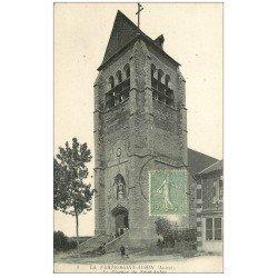 carte postale ancienne 45 LA FERTE-SAINT-AUBIN. L'Eglise et Epicerie vers 1918
