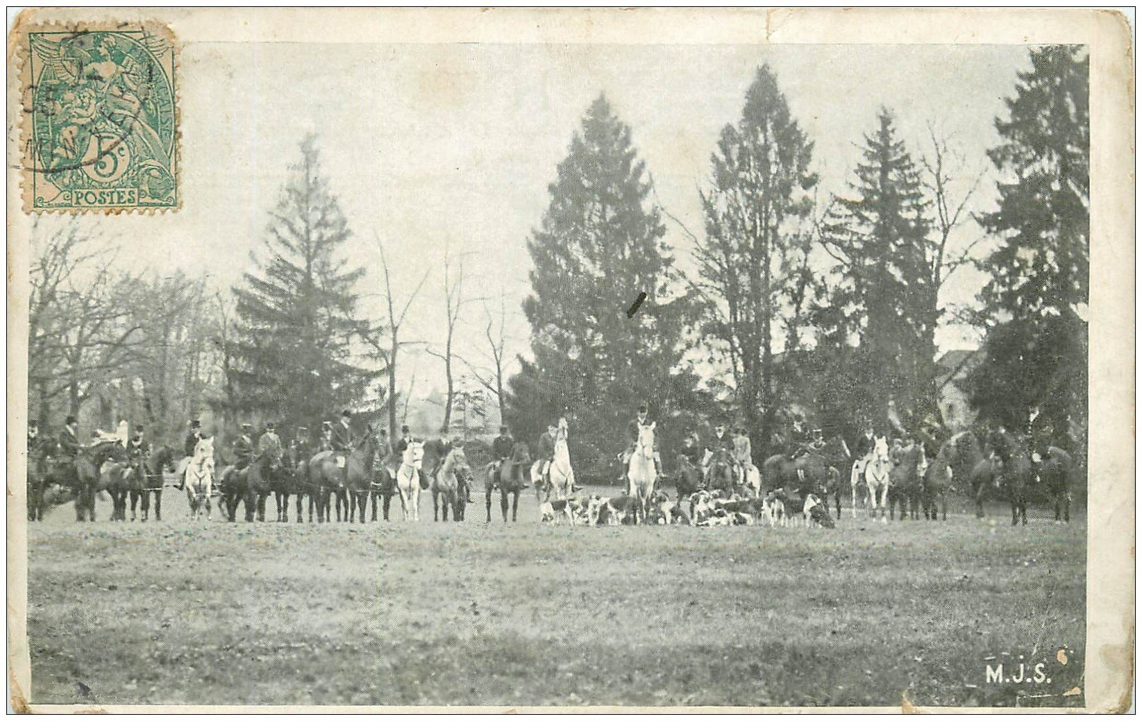 carte postale ancienne 45 LE LOIRET. La Chasse à Courre 1905. Equipage et meute de Chiens de chasse