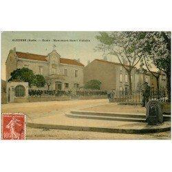 carte postale ancienne 11 ALZONNE. Ecole et Monument Vialatte 1908. Carte émaillographie