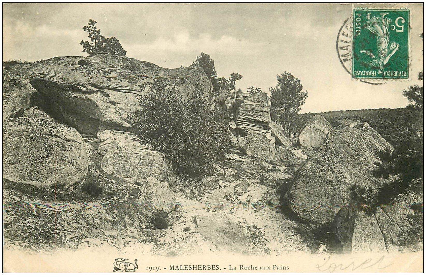 carte postale ancienne 45 MALESHERBES. La Roche aux Pains 1909