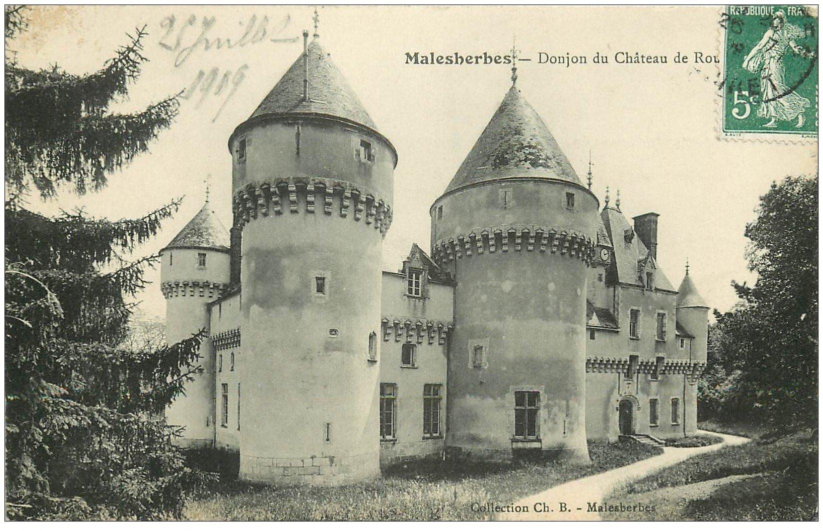 carte postale ancienne 45 MALESHERBES. Le Château de Rouville 1909 Donjon