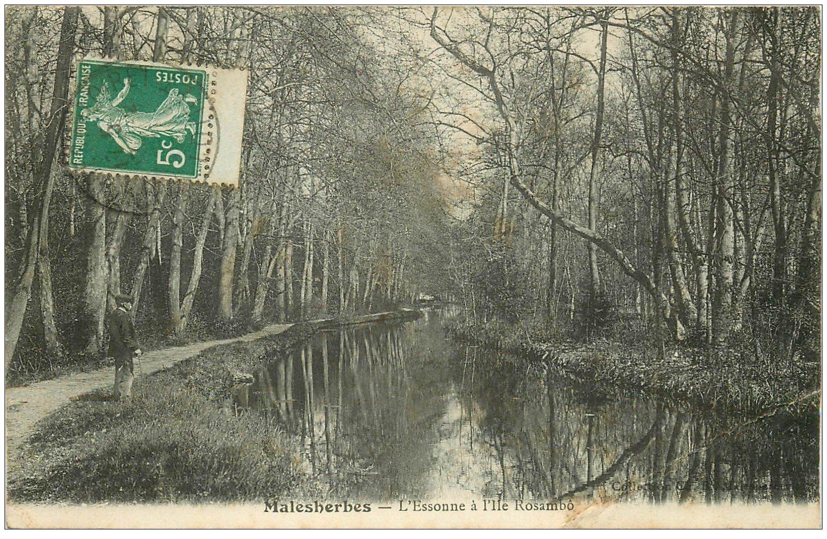 carte postale ancienne 45 MALESHERBES. L'Essonne à l'Ile Rosembo 1912