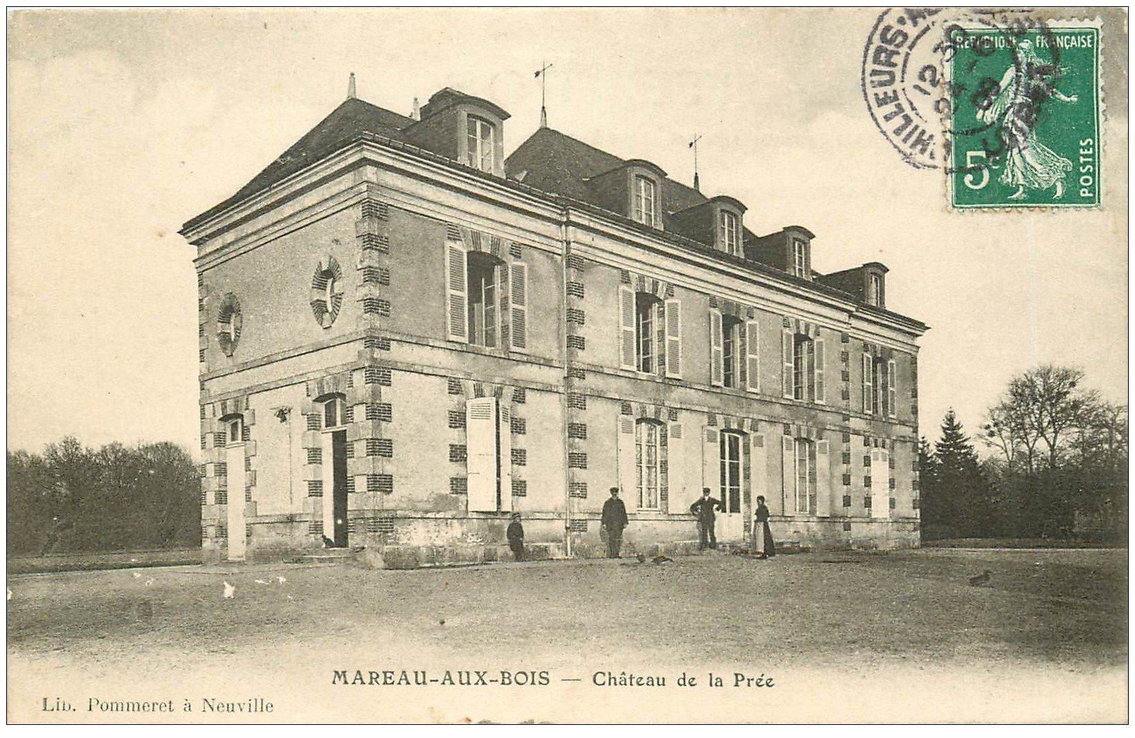 carte postale ancienne 45 MAREAU-AUX-BOIS. Château de la Prée 1909 animé