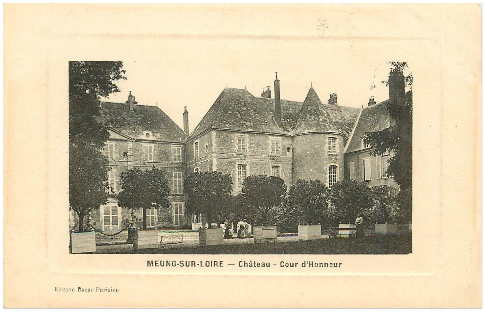 carte postale ancienne 45 MEUNG-SUR-LOIRE. Cour Honneur du Château 1915