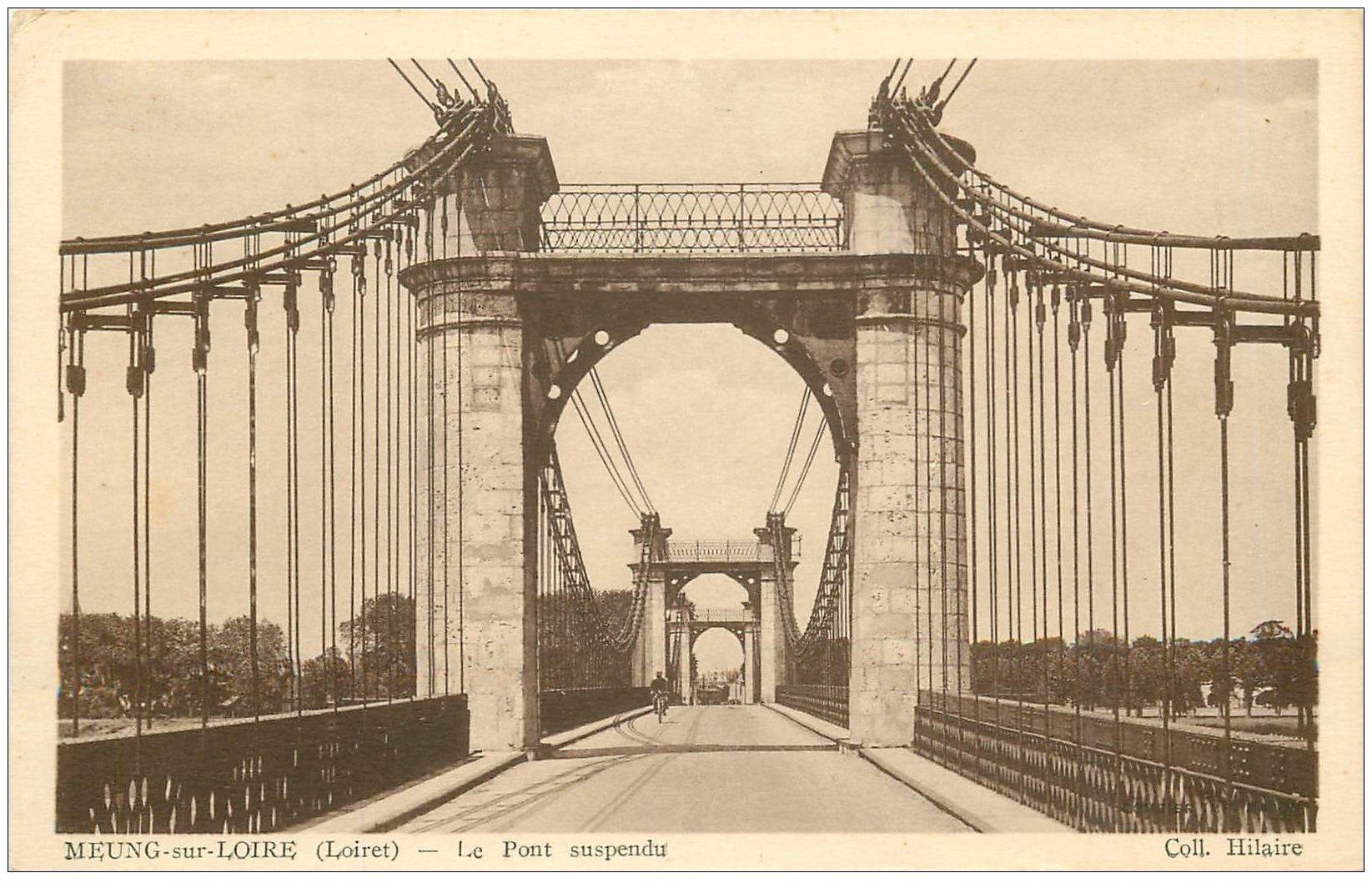 carte postale ancienne 45 MEUNG-SUR-LOIRE. Le Pont suspendu