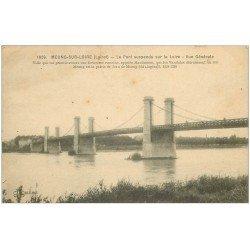 carte postale ancienne 45 MEUNG-SUR-LOIRE. Le Pont suspendu 1918