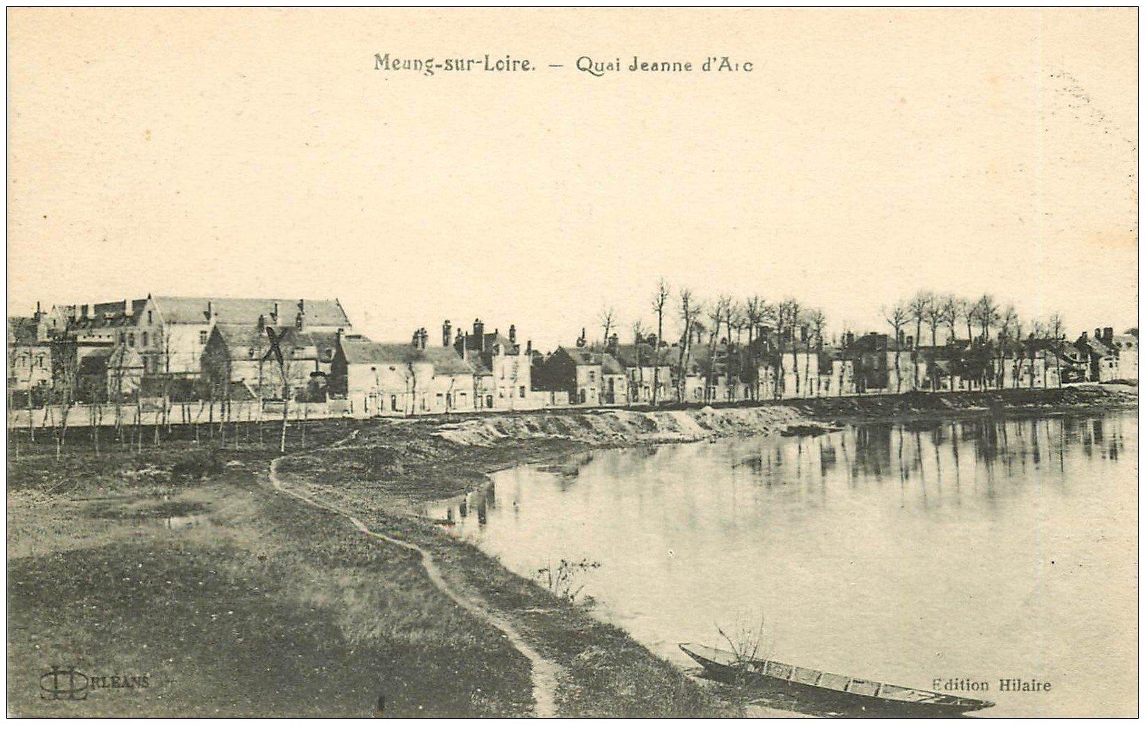 carte postale ancienne 45 MEUNG-SUR-LOIRE. Quai Jeanne d'Arc 1926