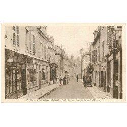 carte postale ancienne 45 MEUNG-SUR-LOIRE. Rue Jehan-de-Meung. Magasin de Cartes Postales à gauche