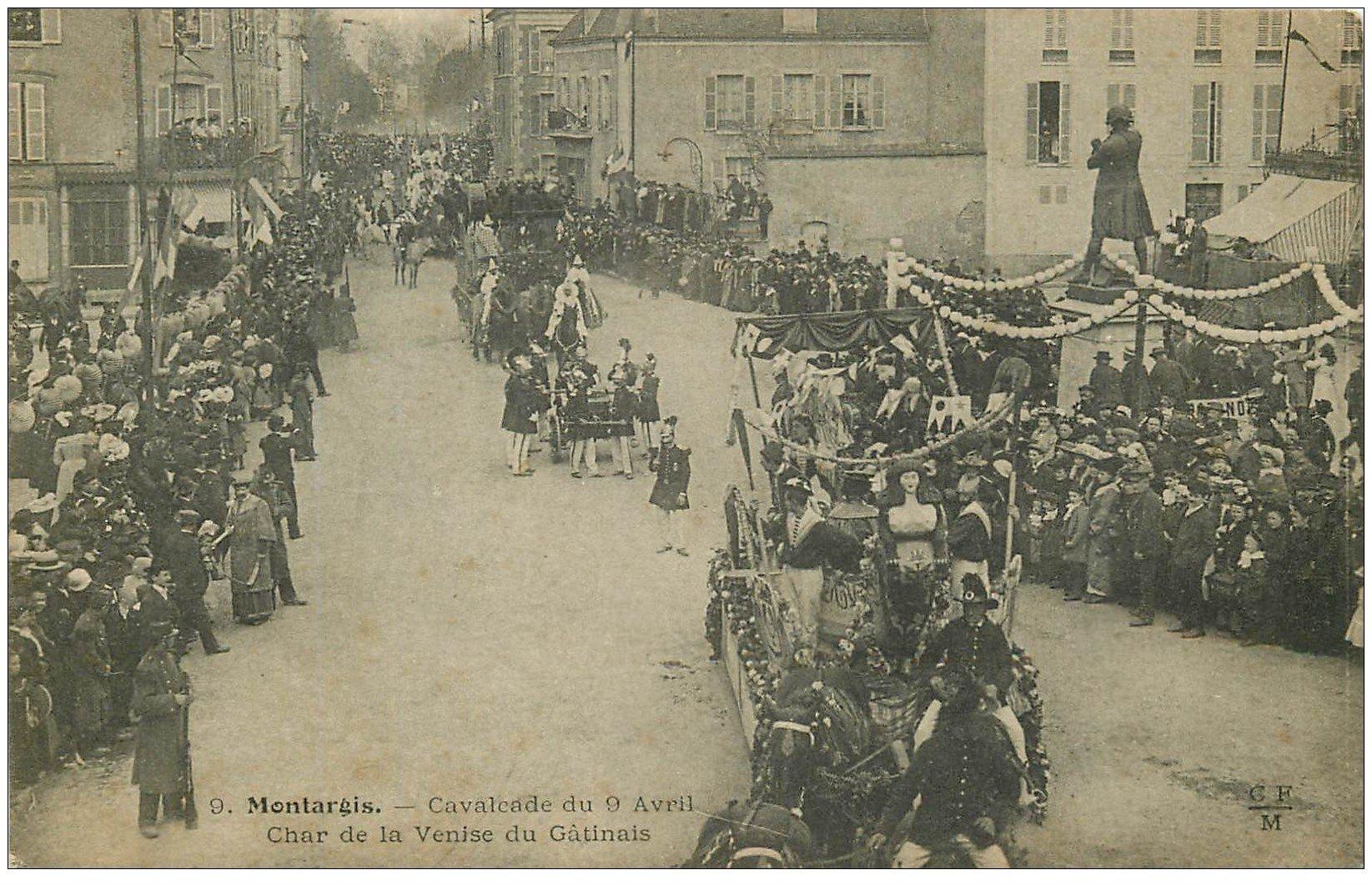 carte postale ancienne 45 MONTARGIS. Cavalcade 1905. Char de la Venise du Gatinais