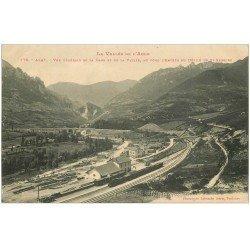 carte postale ancienne 11 AXAT. Train dans la Gare et la Vallée 1915. Vallée Défilé se Saint-Georges
