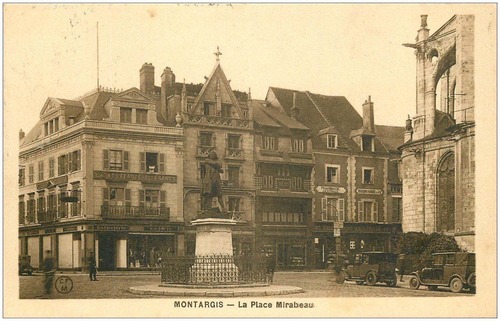 carte postale ancienne 45 MONTARGIS. La Place Mirabeau 1936. Magasin La Nouveauté de France