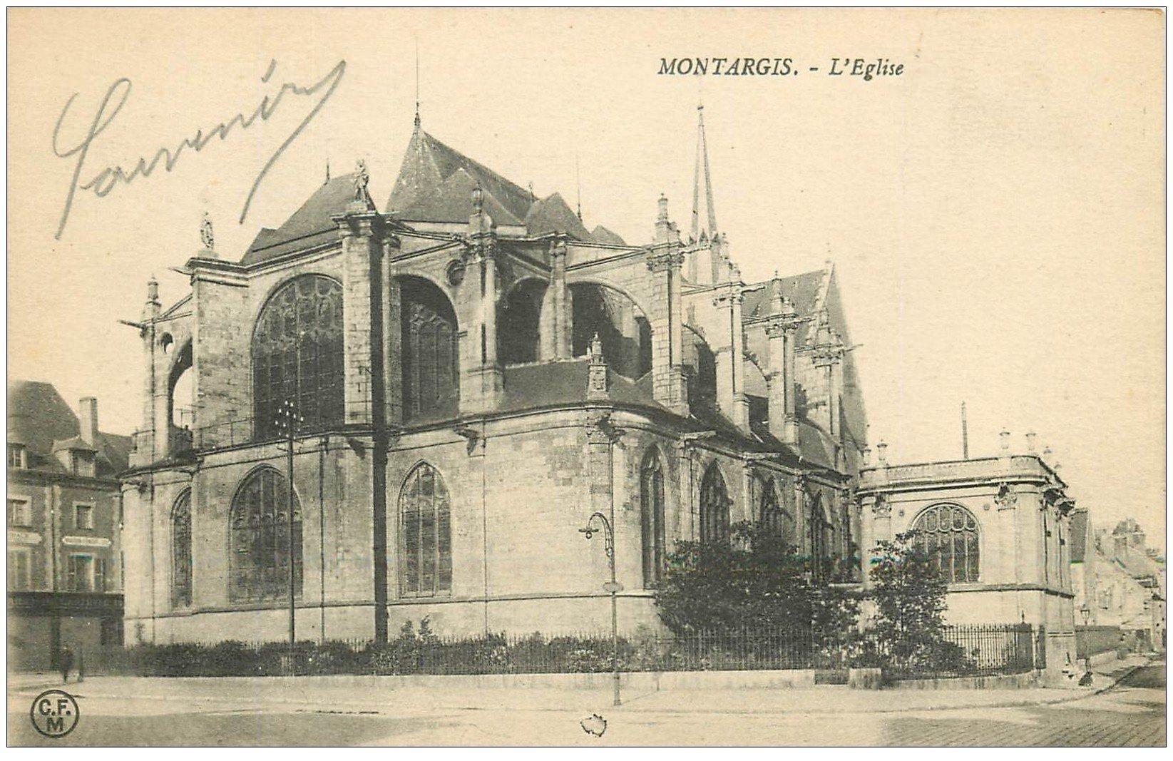 carte postale ancienne 45 MONTARGIS. L'Eglise 1916. Tampon Militaire