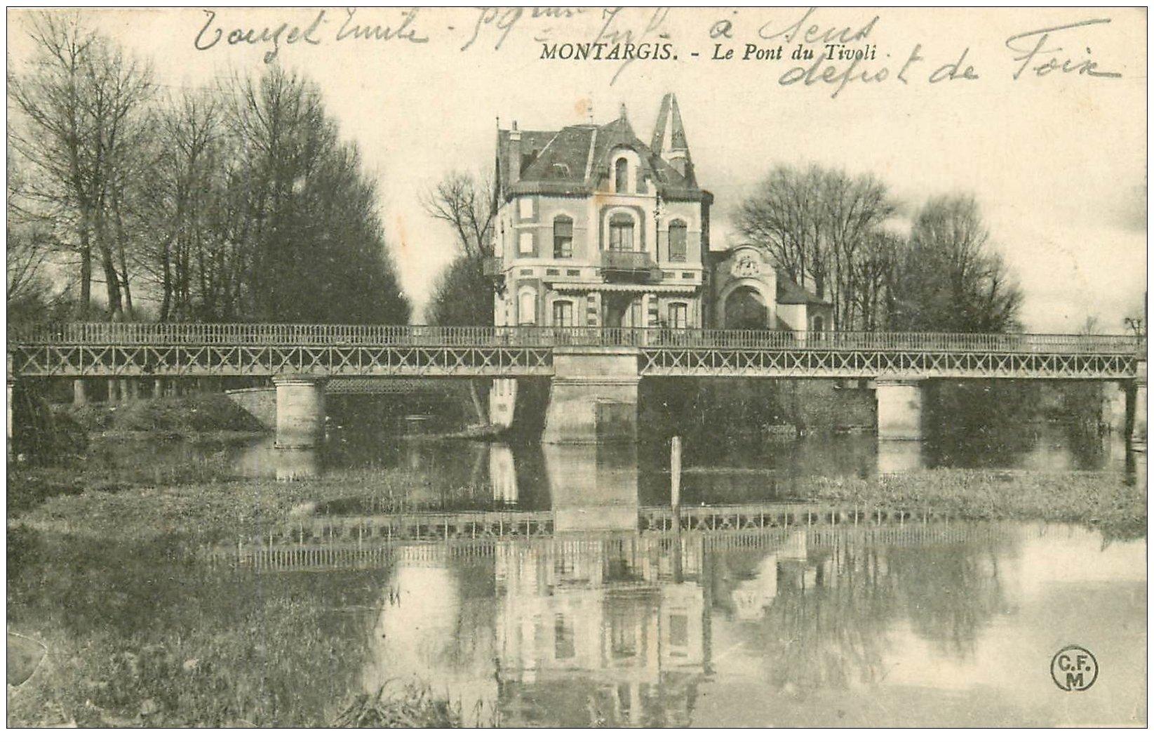 carte postale ancienne 45 MONTARGIS. Pont du Tivoli. tampon Militaire 1909