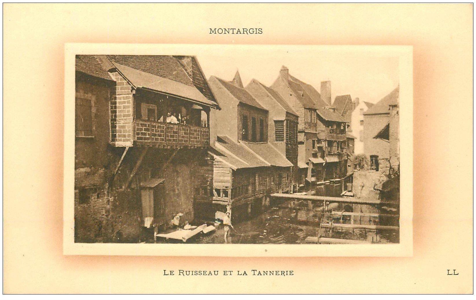 carte postale ancienne 45 MONTARGIS. Ruisseau et Tannerie 1918 Employés au balcon