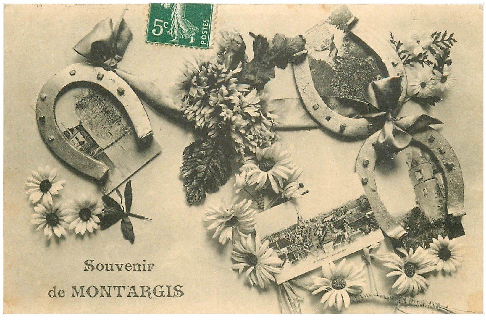 carte postale ancienne 45 MONTARGIS. Souvenir multivues 1909