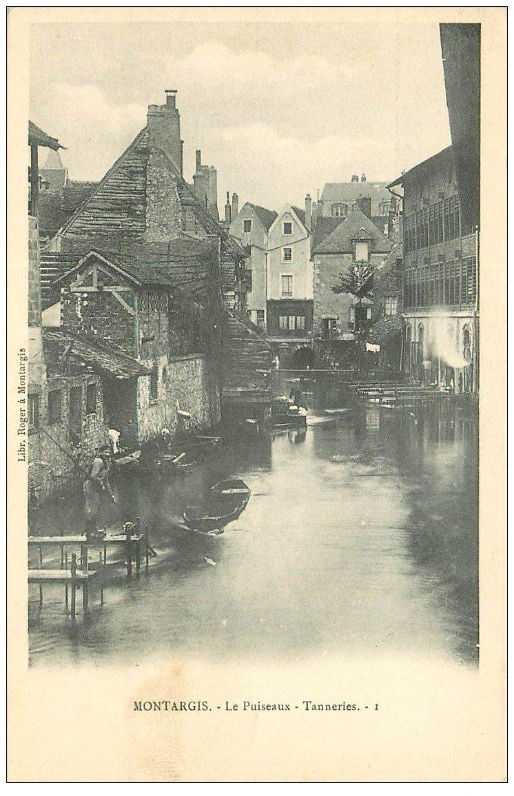 carte postale ancienne 45 MONTARGIS. Tanneries le Puiseaux avec Tanneur et Lavandière