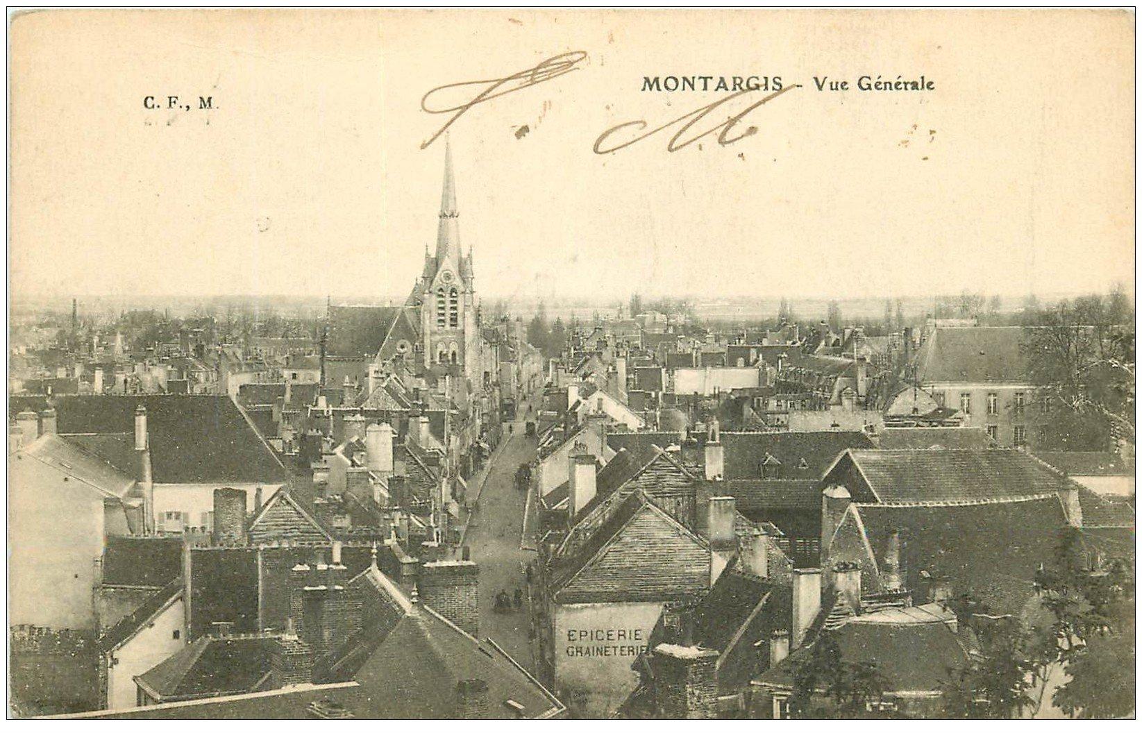 carte postale ancienne 45 MONTARGIS. Vue générale 1917