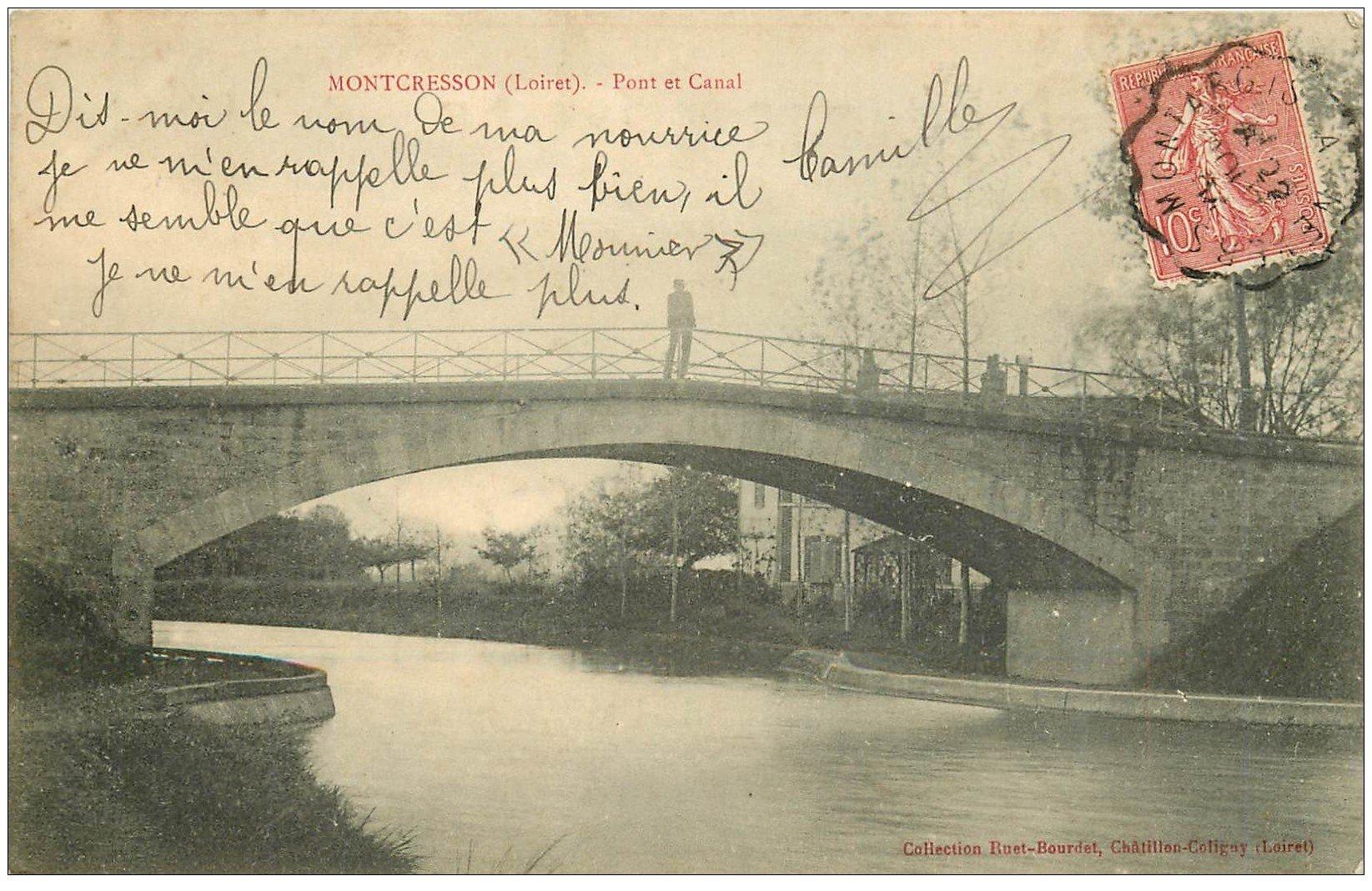 carte postale ancienne 45 MONTCRESSON. Pont et Canal 1904