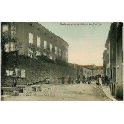 carte postale ancienne 11 BADENS. Château et Place. Carte émaillographie