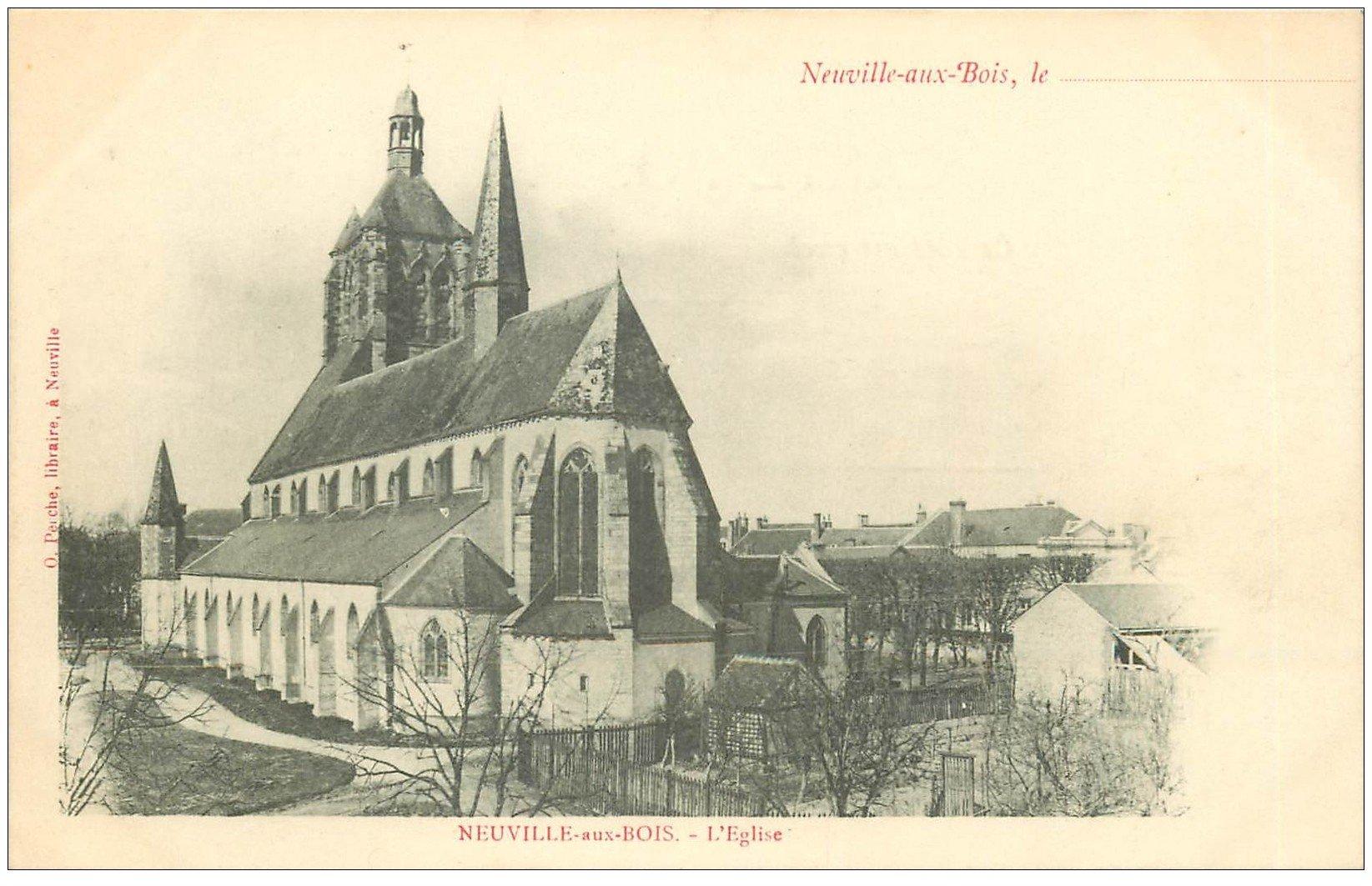 carte postale ancienne 45 NEUVILLE-AUX-BOIS. L'Eglise vers 1900