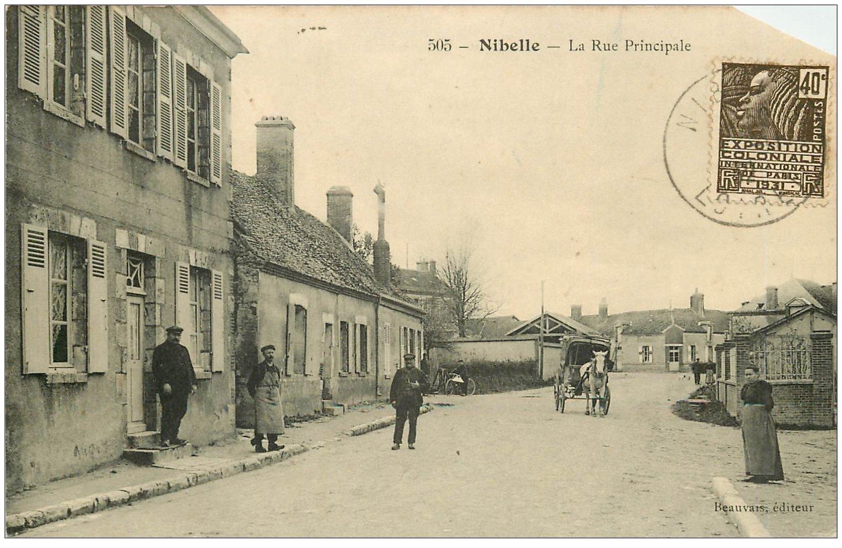 carte postale ancienne 45 NIBELLE. La Rue Principale 1931. Coin droit biseauté