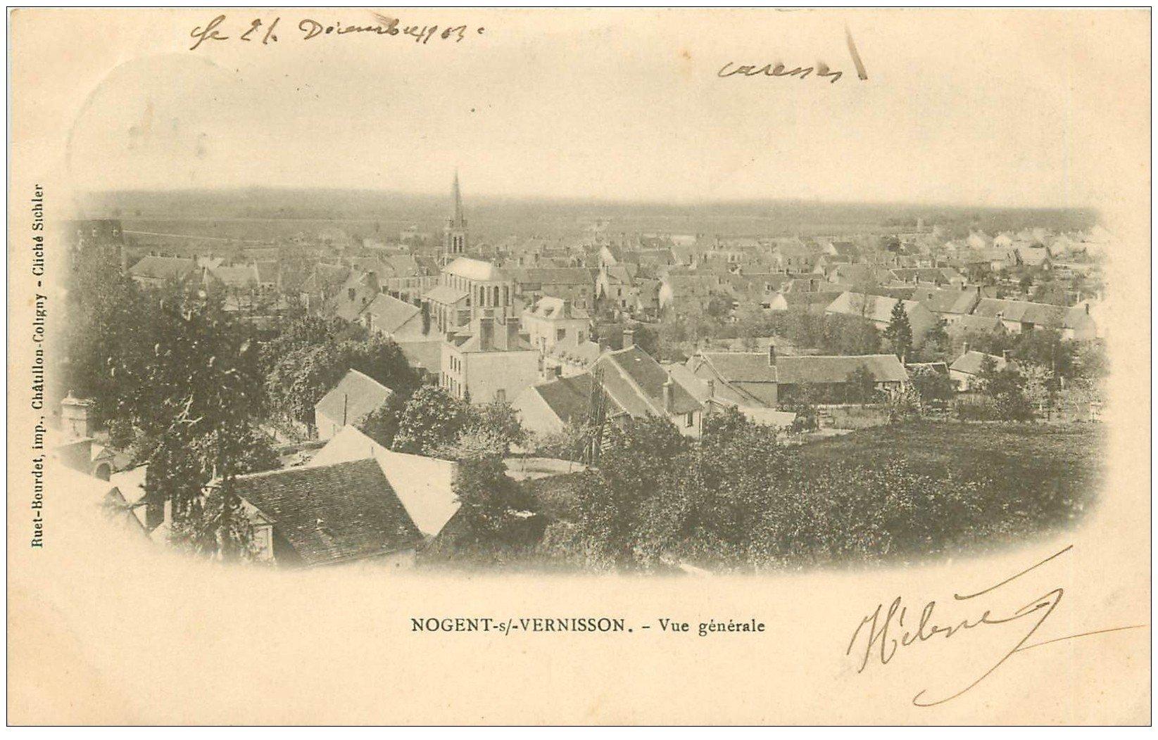 carte postale ancienne 45 NOGENT-SUR-VERNISSON. Vue générale 1903