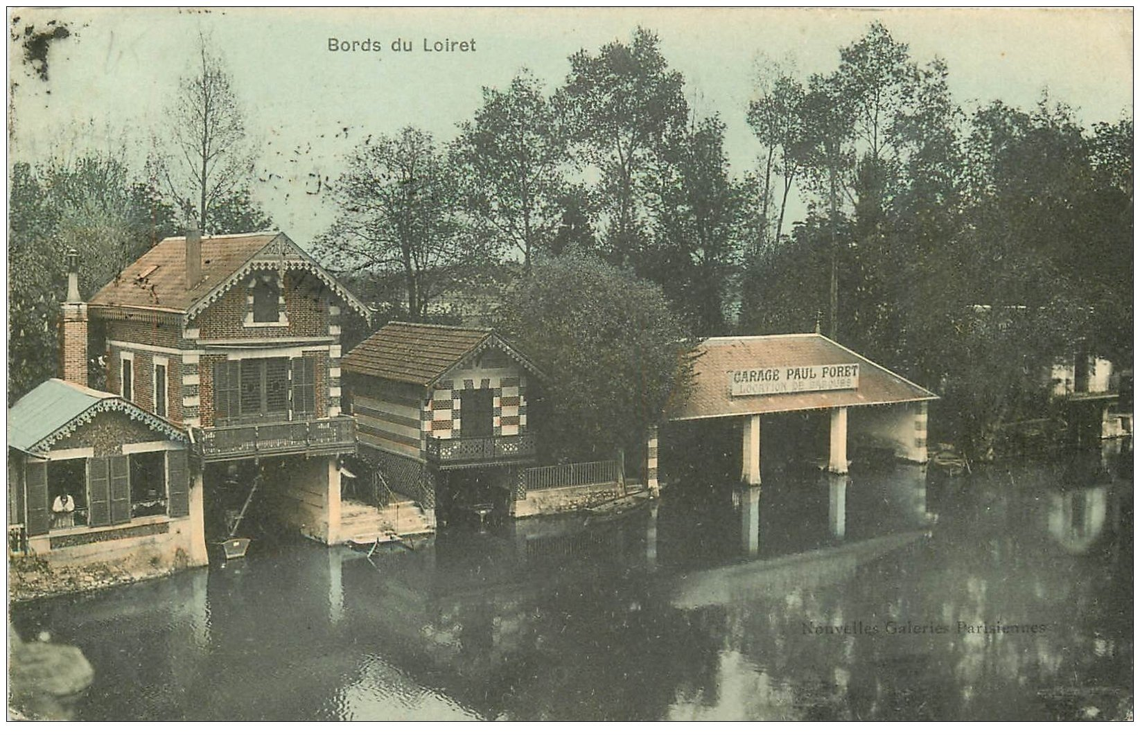 carte postale ancienne 45 OLIVET. Garage Paul Foret location de barques 1906