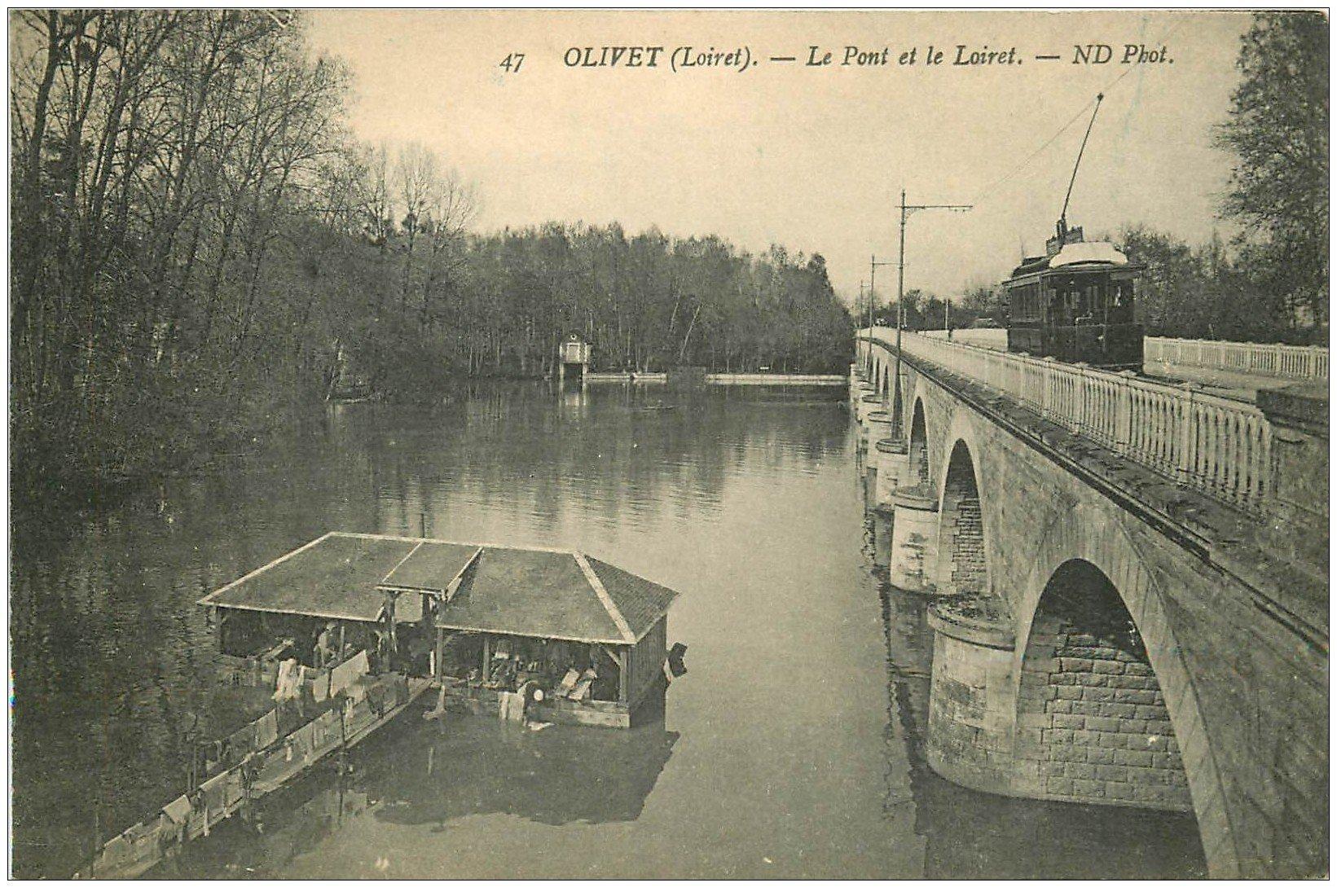 carte postale ancienne 45 OLIVET. Lavoir et Tramway sur Pont