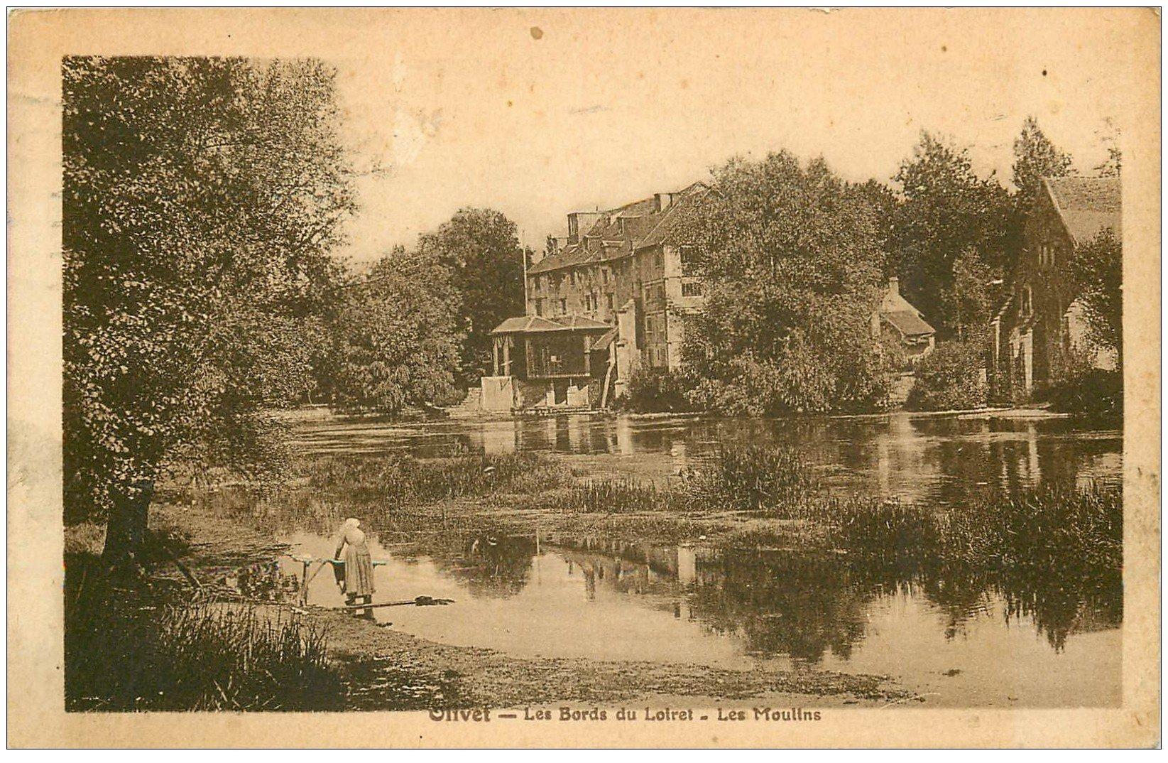 carte postale ancienne 45 OLIVET. Les Moulins 1919 Lavandière Laveuse