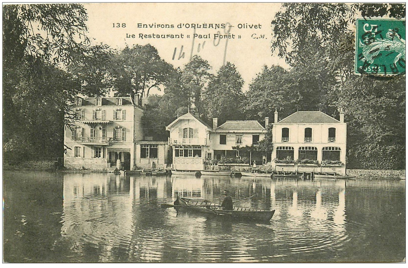 carte postale ancienne 45 OLIVET. Restaurant Paul Forêt 1909