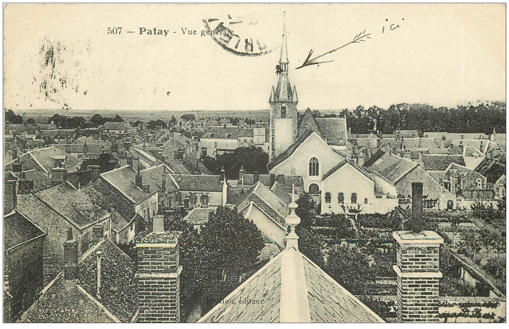 carte postale ancienne 45 PATAY. Vue sur les toits du Village 1911