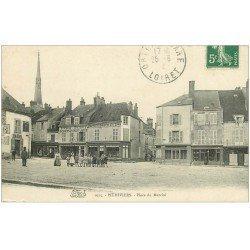 carte postale ancienne 45 PITHIVIERS. Bains Place du Marché 1912