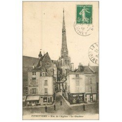carte postale ancienne 45 PITHIVIERS. Clocher rue de l'Eglise 1915