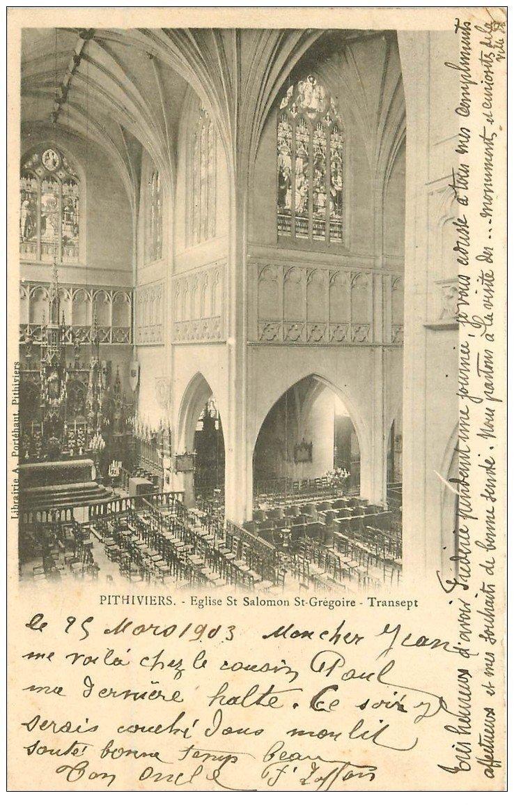 carte postale ancienne 45 PITHIVIERS. Eglise Saint-Salomon Saint-Grégoire 1903