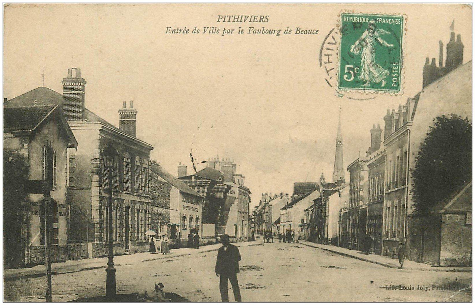 carte postale ancienne 45 PITHIVIERS. Faubourg de Beauce 1915