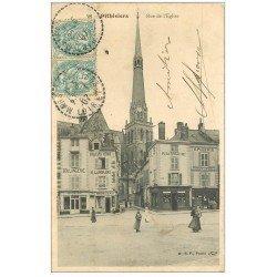carte postale ancienne 45 PITHIVIERS. Rue de l'Eglise 1907 Commerces