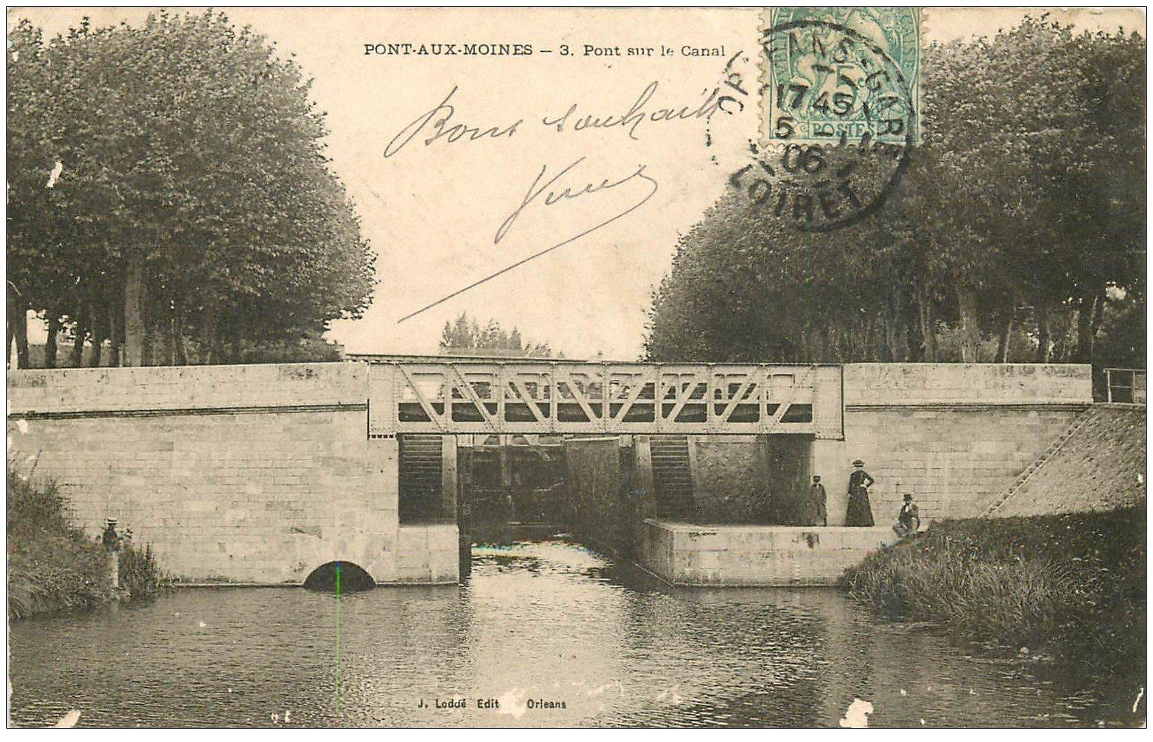 carte postale ancienne 45 PONT-AUX-MOINES. Pont sur le Canal 1906