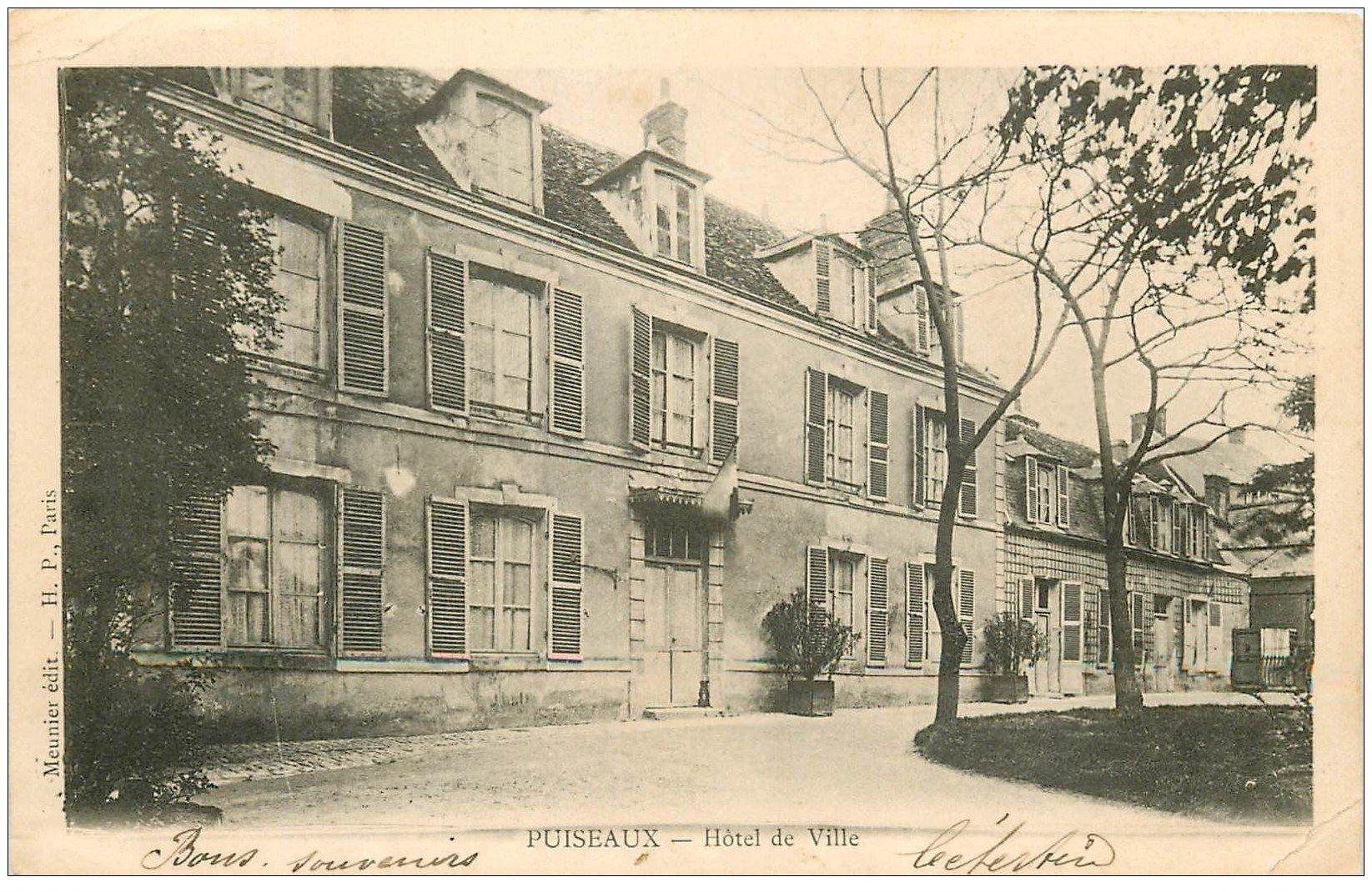 carte postale ancienne 45 PUISEAUX. Hôtel de Ville 1903 (pli coin droit)