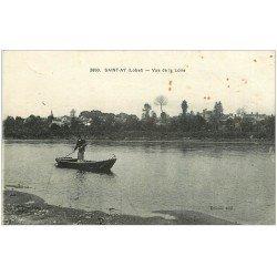 carte postale ancienne 45 SAINT-AY. Passeur en barque sur la Loire