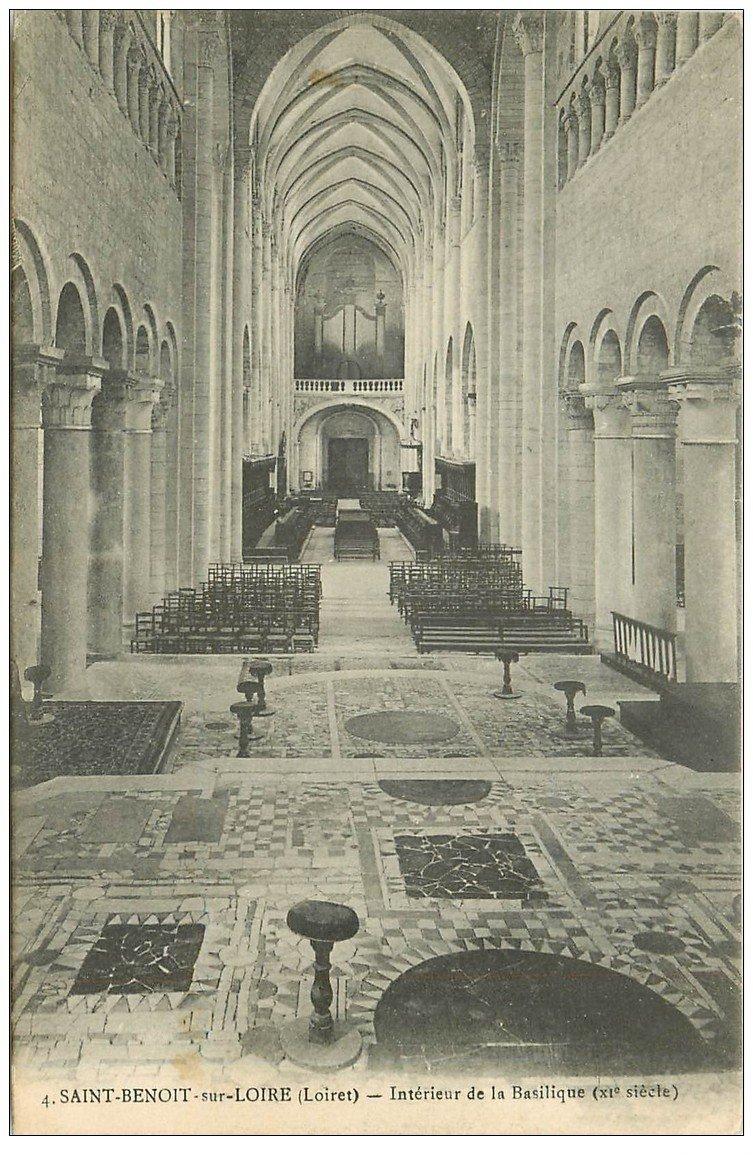carte postale ancienne 45 SAINT-BENOIT-SUR-LOIRE. Basilique intérieur