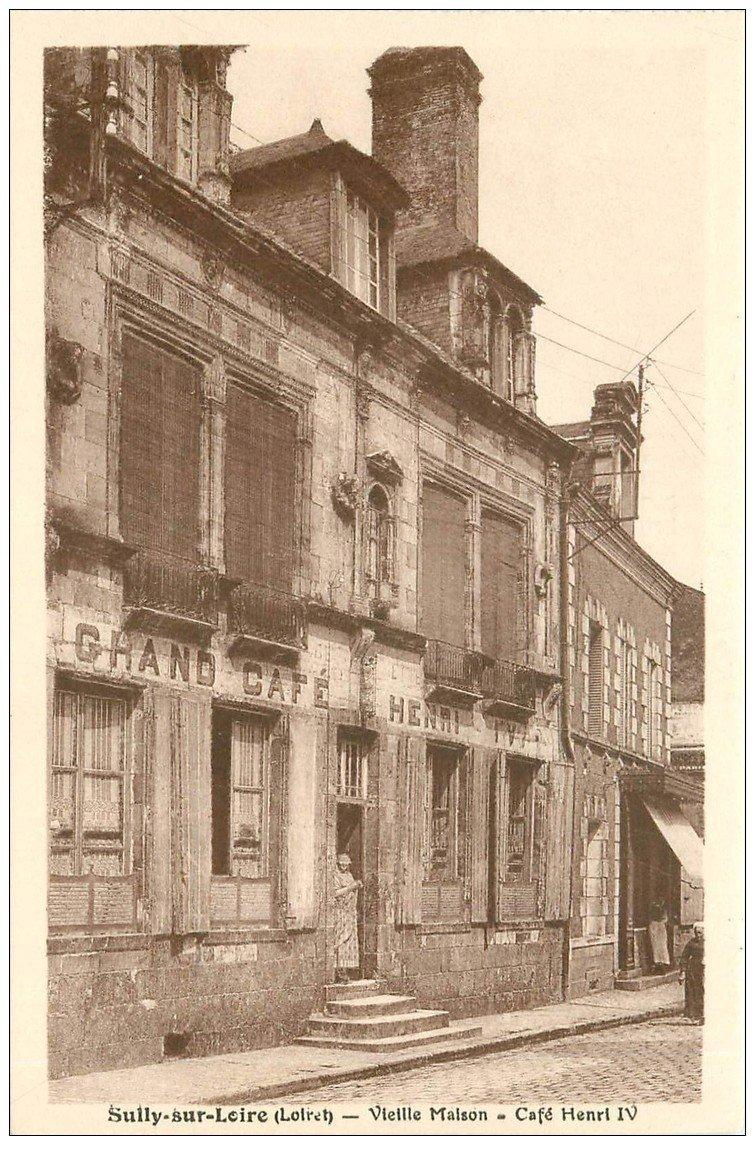 carte postale ancienne 45 SAINT-BENOIT-SUR-LOIRE. Café Henri IV