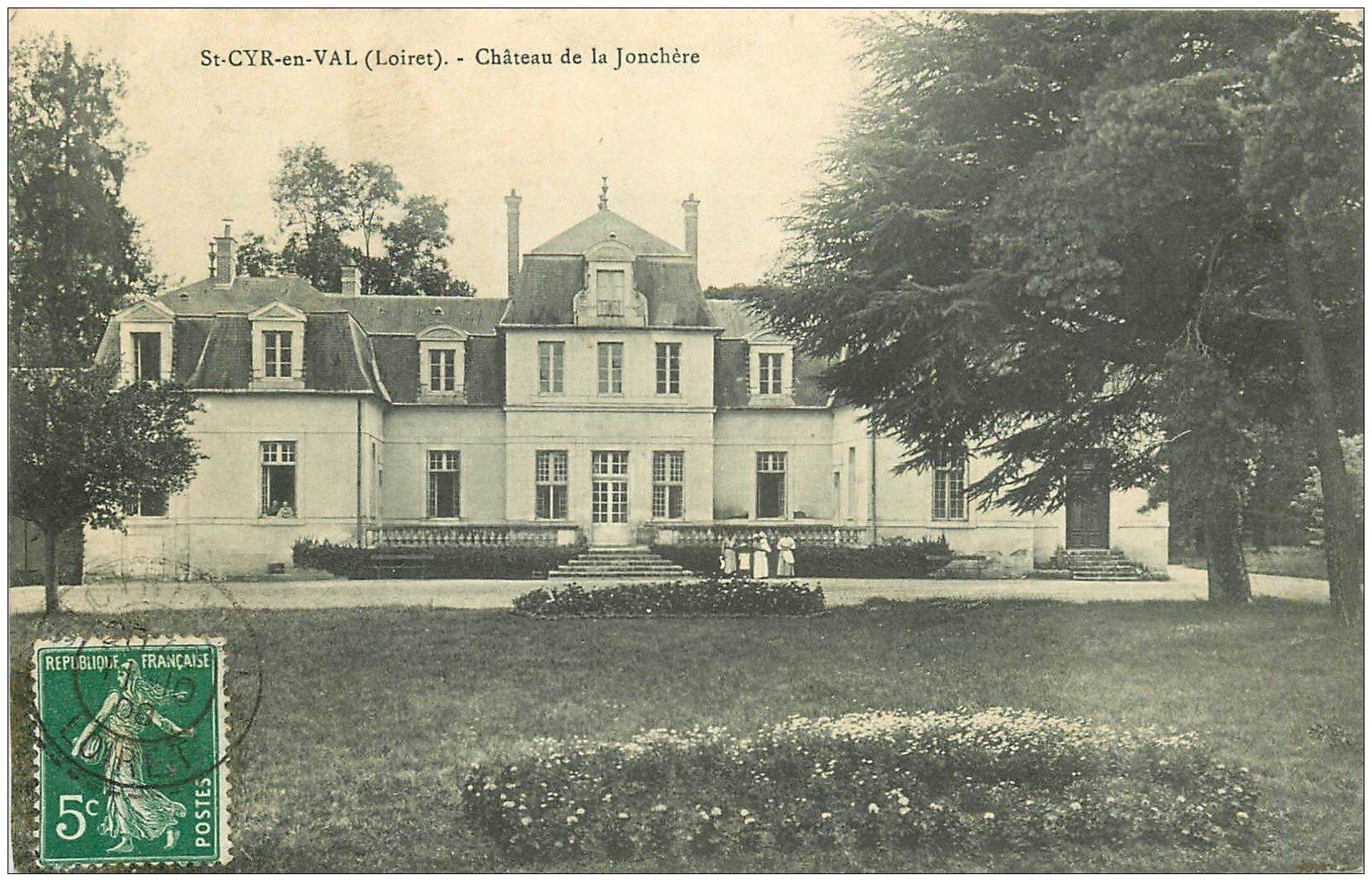 carte postale ancienne 45 SAINT-CYR-EN-VAL. Château de Jonchère 1908 petite animation