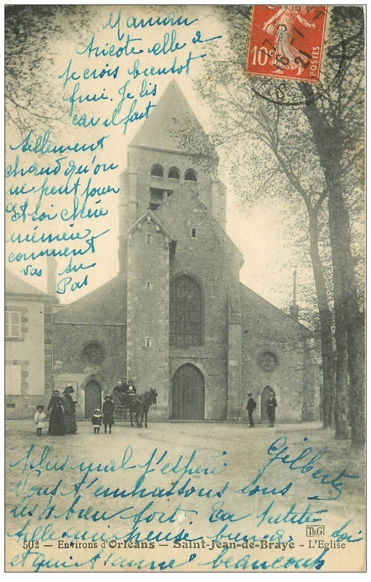 carte postale ancienne 45 SAINT-JEAN DE BRAYE. L'Eglise 1921