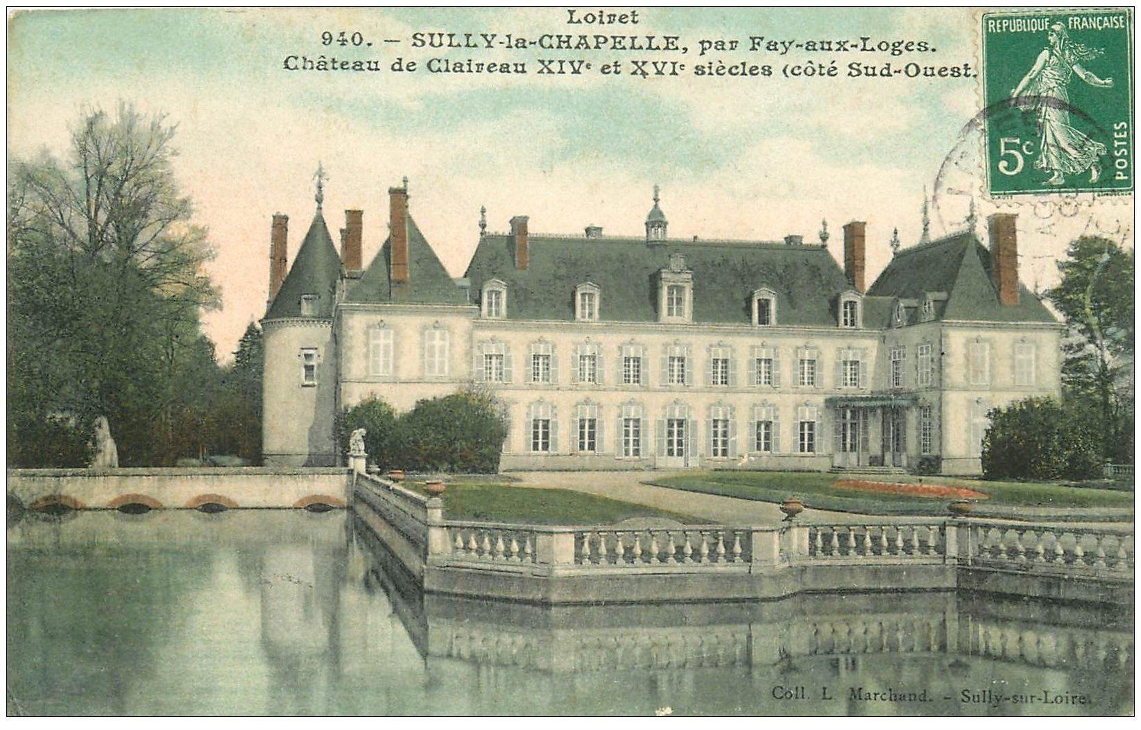 carte postale ancienne 45 SULLY-LA-CHAPELLE. Château de Claireau 1908