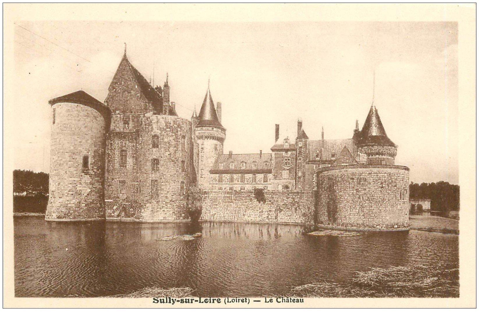 carte postale ancienne 45 SULLY-SUR-LOIRE. Château douves