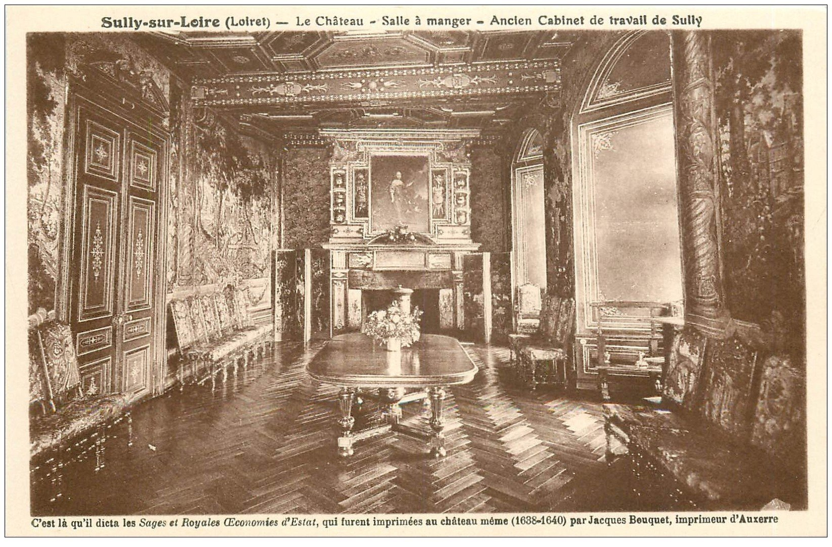 carte postale ancienne 45 SULLY-SUR-LOIRE. Château Salle à Manger