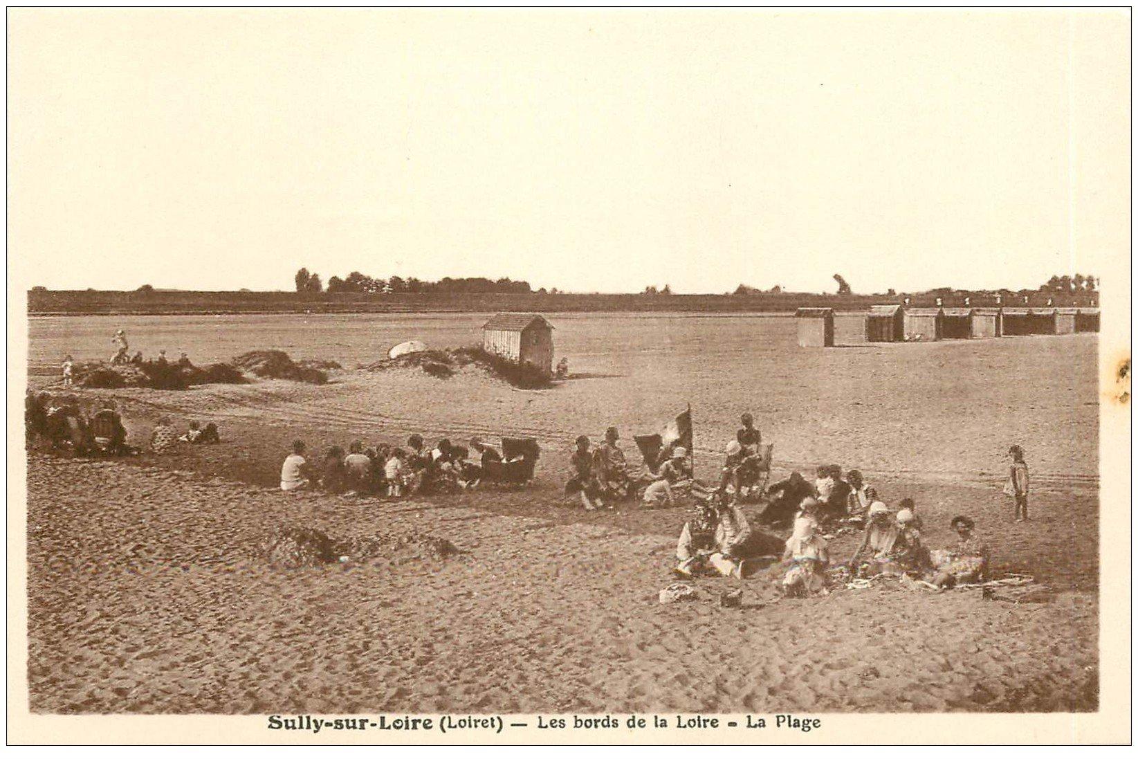 carte postale ancienne 45 SULLY-SUR-LOIRE. La Plage animée