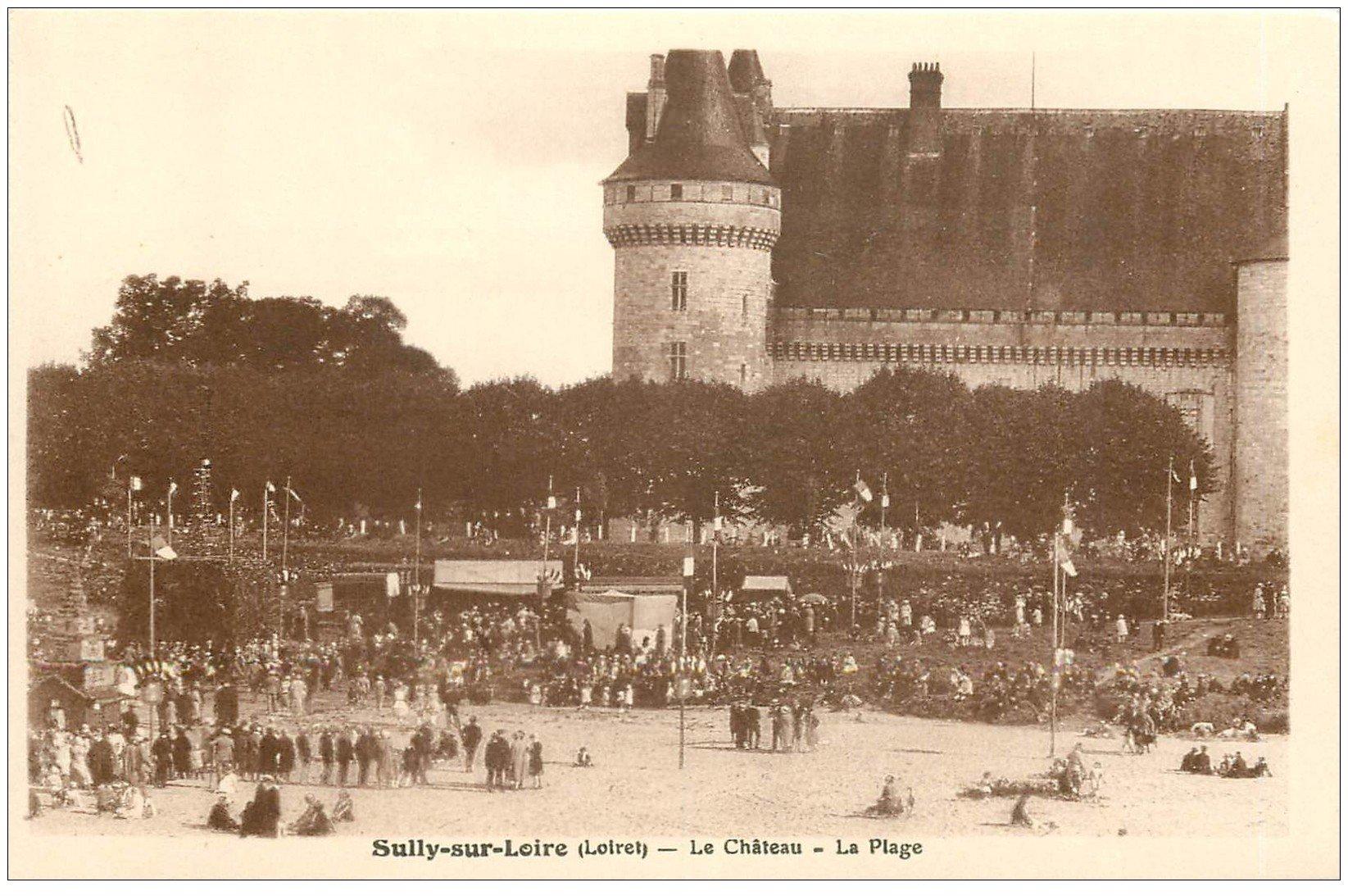 carte postale ancienne 45 SULLY-SUR-LOIRE. La Plage du Château