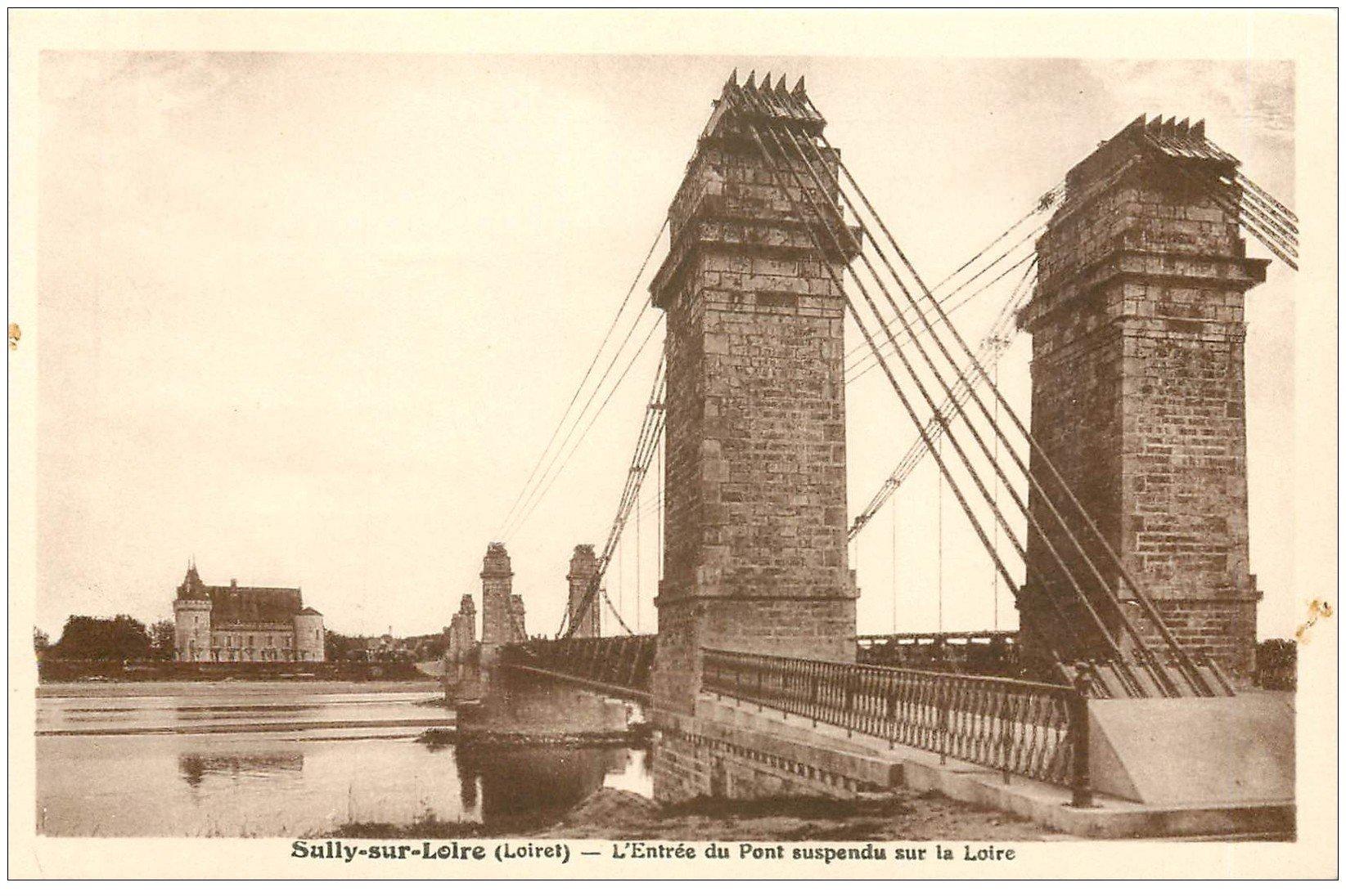 carte postale ancienne 45 SULLY-SUR-LOIRE. Pont suspendu